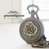 นาฬิกาพกล็อคเก็ตสร้อยคอ ฝาทึบลายดอกกุหลาบ Romance Rose(พร้อมส่ง)