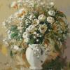 "MG763 ภาพระบายสีตามตัวเลข ""ดอกไม้ขาวในแจกันขาว"""