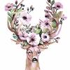 """MG864 ภาพระบายสีตามตัวเลข """"กวางกับดอกไม้ชมพู"""""""