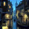 """MG738 ภาพระบายสีตามตัวเลข """"เวนิสในคืนจันทร์แรม"""""""