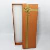 กล่องของขวัญสีน้ำตาลทอง แบบยาว แต่งริบบิ้น