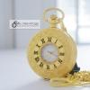 นาฬิกาพกพรีเมี่ยมสีเงินลายโรมันเถาวัลย์แบบควอทซ์ หน้าปัดเลขโรมัน