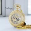 นาฬิกาพกลายเถาวัลย์ดอกเดซี่ Golden Daisy Lace ระบบไขลานตัวเรือนสีทอง