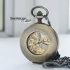 นาฬิกาพกไขลานฝาทะลุ ตัวเรือนสีทองเหลืองวินเทจ Steampunk Hollow Vintage Exquisite