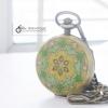นาฬิกาพกพรีเมี่ยมวินเทจ สีเขียว Emerald Antique Brass Stone Flower (พร้อมส่ง)