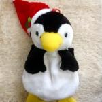 พร้อมส่งค่ะ ตุ๊กตาSanta Penguin แขวนประดับบ้านวันคริสต์มาส มีถุงใส่ของด้านหลัง