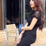 Slim chiffon splicing short-sleeved dress