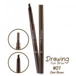 Etude house drawing eye brow #01 Dark Brown ดินสอเขียนคิ้วเนื้อครีมแบบออโต้ พร้อมแปรงปัดในตัว