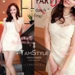 Dress073-เดรสแฟชั่นสีขาวผ้าลูกไม้ปักฉลุผ้า มีซับ สวยหรูดูน่ารัก ใส่ไปงานได้จ้าา อก 34 ((เดรสแฟชั้นพร้อมส่ง))