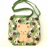 ** พร้อมส่งค่ะ ** กระเป๋าสะพายข้าง ลายแมวน้อย สีเขียว