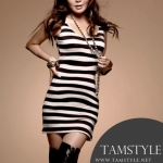 ***สินค้าหมด-Dress004-เดรสแฟชั้น-เดรสแฟชั่นเกาหลี เดรสลายขวาง