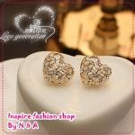 ตุ้มหูหัวใจประดับเพชร Love decorated Ji heart earrings Korea Korea Europe and the United States retro female earrings earrings jewelry