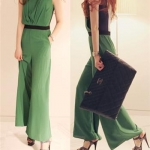 high-end Slim wide leg piece pants