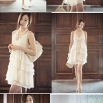 chiffon harness white dress