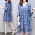 ชุดเดรสผ้าชีฟองญี่ปุ่นสีฟ้า
