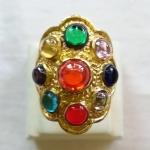สินค้าจองค่ะ แหวนพลอยมณีใต้น้ำ(เพชรพญานาค)นพเก้าเนื้อทองเหลือง(ทุกราศี)เบอร์10 วงที่2ค่ะ