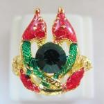 แหวนพญานาคเกี้ยวลงยาสีแดงเขียว เสริมดวงบารมี โชคลาภค่ะ