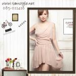 Dress072-เดรสแฟชั่นสีชมพู ผ้าชีฟอง เดรสแขนกุด ใส่ไปงานได้จ้าาา ผ้าใส่สบายจ้าา อก 33 ((เดรสแฟชั้นพร้อมส่ง))