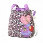 ** พร้อมส่งค่ะ ** กระเป๋าหูรูด ลายเด็กผู้หญิง สีม่วง