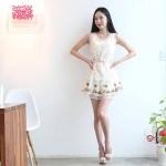 organza luxury lace princess dress (สีขาว)