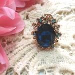 แหวนสุดหรู ประดับคริสตัลสีน้ำเงิน