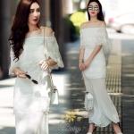 ชุดเดรสผ้าชีฟอง แบบเปิดไหล่สีขาว