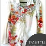 **((หมดค่ะ))Top008-เสื้อแฟชั่นเกาหลี เสื้อเชิ้ตแฟชั่น ชีฟอง สีขาว