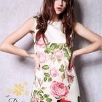 เดรสแขนกุดผ้าไหมอิตาลี่ พิมลายดอกกุหลาบและผีเสื้อ