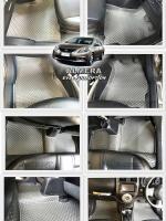 ผ้ายางปูพื้นรถยนต์ ALMERA ลายกระดุม สีเทา 12 ชิ้น เต็มคัน เข้ารูป 100%