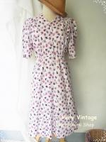 เดรสวินเทจผ้าโบราณพิมพ์ลายดอกไม้สีม่วง