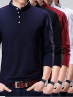 เสื้อแขนยาวคอกลมแบบมีกระดุมแฟชั่น