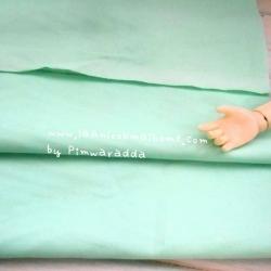 ผ้าพื้นคอตตอน~ สีเขียวนวล หนาปกติหาจากตลาดในไทย1/2 m
