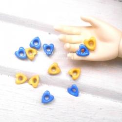 """ตาไก่แฟนซี """" ชุดหัวใจ ขนาด 5mm"""" 12 ขิ้นรูตาไก่3 mm"""