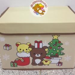 กล่องอเนกประสงค์ Rilakkuma ริลัคคุมะ กล่องแข็งแรง พับเก็บได้ มีฝาปิด ขนาด 10x15x10นิ้ว #1