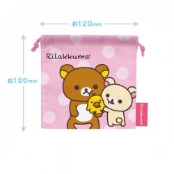 ถุงผ้าหูรูด Rilakkuma ริลัคคุมะ สีชมพู ขนาด 8x7นิ้ว