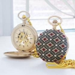 นาฬิกาพกลายไทยระบบกลไกไขลาน ประดับคริสตัล SWAROVSKI สีแดงสยามหน้า-หลัง (สั่งทำ)