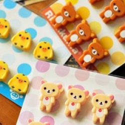 Made in Japan ตัวหนีบจิ๋ว 1แพ็ค มี6ชิ้น มี3ลาย ลายRilakkuma หมีน้ำตาล Korilakkuma หมีสีครีม และ Kiioritori ลูกเจี๊ยบ