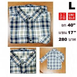 เสื้อเชิ้ตลายสก๊อต เสื้อเชิ้ต Uniqlo Size L (แขน3ส่วน)