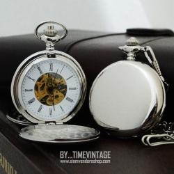 นาฬิกาพก ไขลานหน้าปัดกลไกฝาทึบเปิดได้ 2 ด้าน