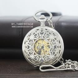 """นาฬิกาพกไขลานหน้าปัดกลไก ดีไซด์ """"Silver Carved Butterfly Steampunk Gold Skeleton"""""""