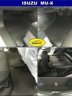 ยางปูพื้นรถยนต์ ISUZU MU-X สีดำ รุ่น Minimat Premium เข้ารูป 100% พรมกระดุมเม็ดเล็ก PVC รีดขอบ