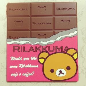 ที่รองแก้ว ลาย Rilakkuma ริลัคคุมะ หมีขี้เกียจ ลายข็อกโกแลต