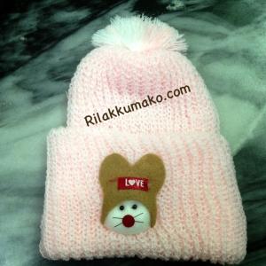 หมวกไหมพรมทารก Attoon สีชมพู