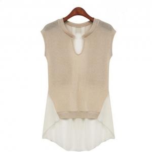 พร้อมส่ง_เสื้อคอกลมตัดต่อผ้านิตติ้ง+ชีฟอง (L XL)
