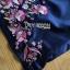 เดรสยาวผ้าเครปสีกรมท่าปักลายดอกไม้ thumbnail 6