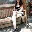 เดรสแฟชั่นเข้ารูปเสื้อแขนกุดคอวีผ้านิตติ้ง(ไหมพรม)เนื้อดีลายตาราง มี 2 สี ดำ+ขาว / เทา+ขาว thumbnail 3