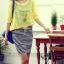 เดรสผ้ายืดลายทาง+เสื้อคลุมผ้าชีฟองสีเหลือง thumbnail 5