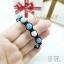 สร้อยข้อมือเชือกถัก ร้อยลูกบอลฝังเพชรสีฟ้าสลับขาว thumbnail 3