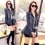 Jacket ยีนส์งานเกาหลี ประดับผ้าลูกไม้สีดำปลายเสื้อ thumbnail 1