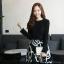 เดรสแฟชั่นเกาหลีเสื้อแขนยาวตัดต่อกระโปรงดีเทลปักลายโทนสีขาว(แถมเข็มขัด)มี S / L thumbnail 1